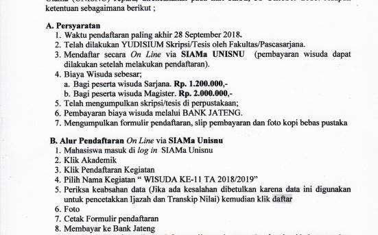 PENDAFTARAN WISUDA KE-11 UNISNU JEPARA T.A 2018/2019