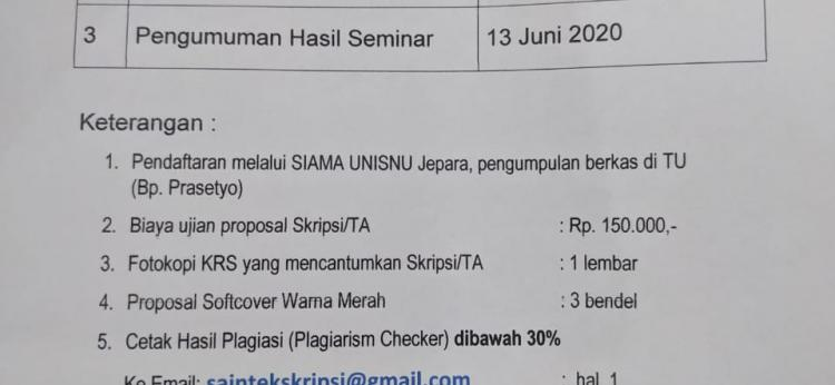 Jadwal Ujian Seminar Propsal Skripsi 2020